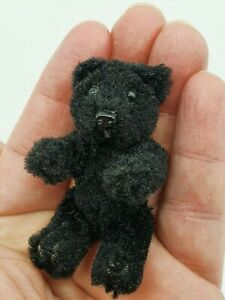 cute rare Schuco Heike Teddy Bear black 6,5 cm mohair vintage