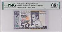 Madagascar 50 Francs = 10 Ariary ND 1974-75 P 62 Superb GEM UNC PMG 68 EPQ TOP