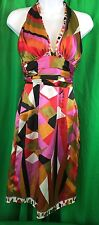 Festival Rubber Ducky Womens Colorful Halter Party Sexy Dress Sz small  (tAA)