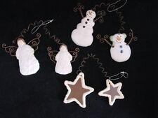 Angel Snowman Star ceramic counterweight Christmas Ornaments ~ Tender Heart 3pc