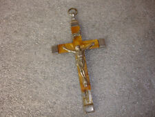 Old Vtg Collectible Jesus On The Cross Crucifix INRI Silver Brown Tone Germany
