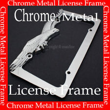 METAL CHROME EAGLE LICENSE PLATE FRAME FOR CAR TRUCK AAA+
