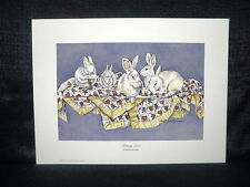 "Martha Hayes ""Bunny Love"" Cute Rabbits Open Edition Lithograph"