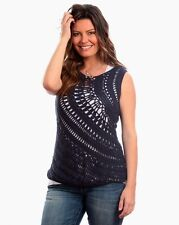 NWT PURE HANDKNIT FOR Fresh Produce CLIFF CROCHET TANK TOP NAVY TEE size M/L $99