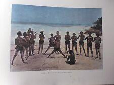 AUSTRALIE/Gravure 19°in folio couleur/Nouvelle- Guinée:Danse des Papous Bariolés