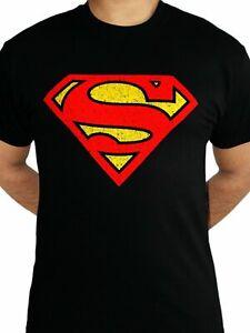 Superman Logo Distressed Classic DC Comics Justice League Black Mens T-shirt SML