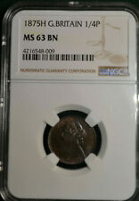 1875-H Great Britain Farthing NGC MS63 BN, Victoria, Splendid Bronze Coin