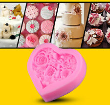 Heart Shape Rose Flower Silicone Mould Fondant Icing Cake Cupcake Topper Mold