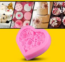 Forma a cuore fiore rosa stampo in silicone il fimo Zucchero Craft Cake Decorazione