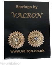 Gold Tone Round Stud Earring with Diamante Centre  (pm)