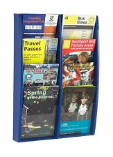 Blue Wall Mounted Leaflet Holder / Rack with 8 x A5 Portrait Pockets