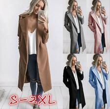 Warm Women Slim Wool Trench Parka Lapel Long Coat Jacket Overcoat Winter Outwear
