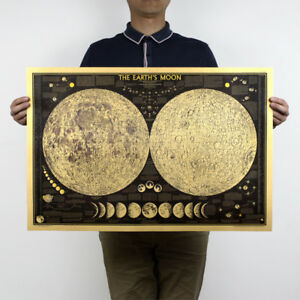 Large Moon Poster Up To 104x69cm Retro Poster Vintage Style Wall Decor Picture