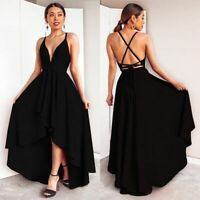 Sleeveless Fashion Evening Party Maxi Cocktail Long V Neck women's Dress Casual