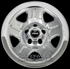 "4 CHROME 93-01 Jeep Wrangler Cherokee 15"" Wheel Skins Hub Caps Wheels Rim Covers"