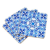 Set of 4 Cork Coasters Drink Mats White & Blue Moroccan Tile Home Office Decor
