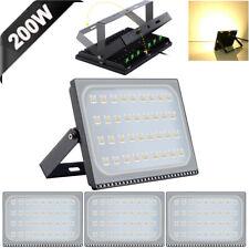 4X 200W Slim Super Power LED Flood Light Warm White Indoor Outdoor Security