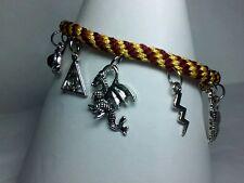 Beautiful Harry Potter kumihimo 11 tibetan silver charm bracelet Gryffindor
