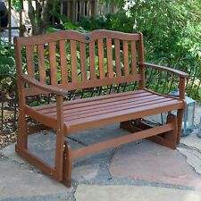 Brown Patio Double Seat Glider Bench Furniture Decor Outdoor Home Living Yard