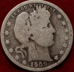 1909-D Denver Mint Silver Barber Quarter
