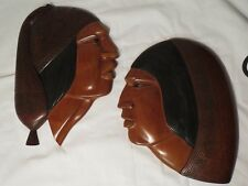 CARVED Incan PeruvIan Faces TEAK WOOD Wall Decoration Plaques Modern Stylized