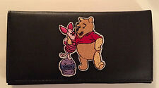 Winnie the Pooh & Piglet Black Leather Checkbook Cover Free Shipping