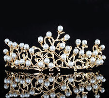 Tree Faux Pearl Tiara Crown Headband Gold Plated Prom Wedding Pageant T896