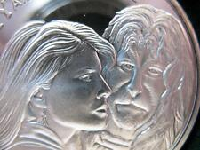 1- OZ..999 FINE SILVER COIN VERY RARE DETAILED 1990 BEAUTY & THE BEAST+ GOLD