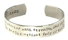 """She is clothed with strength and dignity...1/2"""" x 6"""" Cuff Bracelet Hand Stamped"""