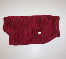 Hand Crochet Maroon Dog Sweater for Small Pet