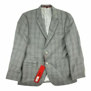 Hugo Boss Mens Modern Fit Plaid Wool Blazer Gray 38S