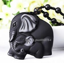 Natural Black Obsidian Carved Mother Baby Elephant Lucky Pendant + Necklace