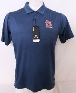 NEW Saint St. Louis Cardinals Antigua Golf Navy Collared Polo Shirt Men's L