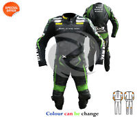 Black and green monster bike leather suit full perforated speed hump one piece