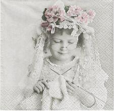 2 serviettes en Papier fille Tricot Paper Napkins Knitting Girl Sagen Vintage