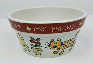 "Signature ceramic cat dish pet bowl 6"" stoneware color me happy"