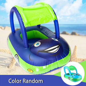 Baby Kids Inflatable Float Seat Ring Sunshade Boat Beach Swimming Pool Toys