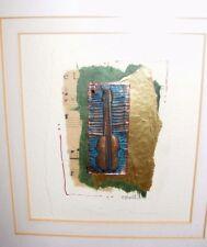 Fait à la main Collage papier cuivre peinture par Joan Téléc Gallois artiste VIOLONCELLE MUSIQUE