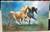 Vintage horses oil/canvas, signed mystery artist 24 x 36