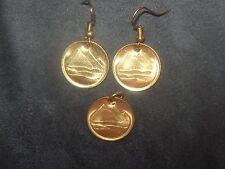 18MM EGYPTIAN EGYPT GOLD VINTAGE TUT DESERT PYRAMID COIN PENDANT EARRINGS SET