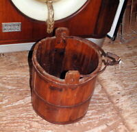 "Antique Primitive Blacksmith Hardware Wood bucket 14"" Tall X 13"" Wide, very nice"