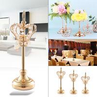 Gold Crown Candle Holder Elegant Crystal Wedding Banquet Candlestick Flower