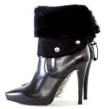 Cesare Paciotto Black leather Stilletto Ankle Boots detachable Lambskin 36,  5.5