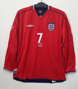 2002 ENGLAND Away L/S No.7 BECKHAM 02 World Cup Nigeria match jersey shirt