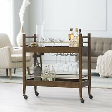 Walnut Finish Wood Mid Century Modern Mobile Bar Cart Buffet Server Serving Cart