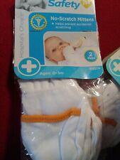 2 Pair Safety 1st Soft Cotton Baby No Scratch Mittens Orange, Tan, Taupe & Pink
