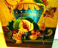 Antique 19thC Signed Still Life Oil Painting Urn Floral and Fruit Unframed
