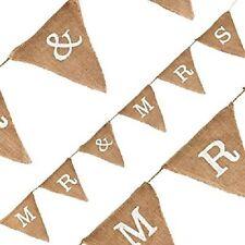 Linen Burlap Bunting 1.8m Hessian Flag Banner Jute Pennant (Mr & Mrs) Vincenza