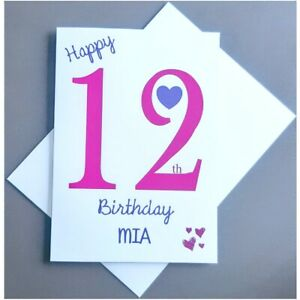 Personalised 12th Birthday Card Girl - 12 Years Old Daughter Granddaughter Niece