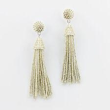 Silver Boho Jewelry Handmade Seedbeads Tassel Earrings Beaded Chandelier Long